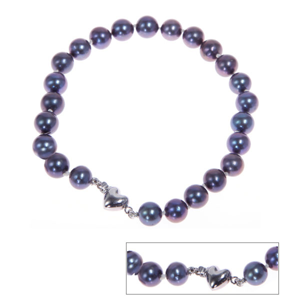 IPEARL Peacock Freshwater Pearl with Silver Clasp Bracelet (TRB-10717-4)