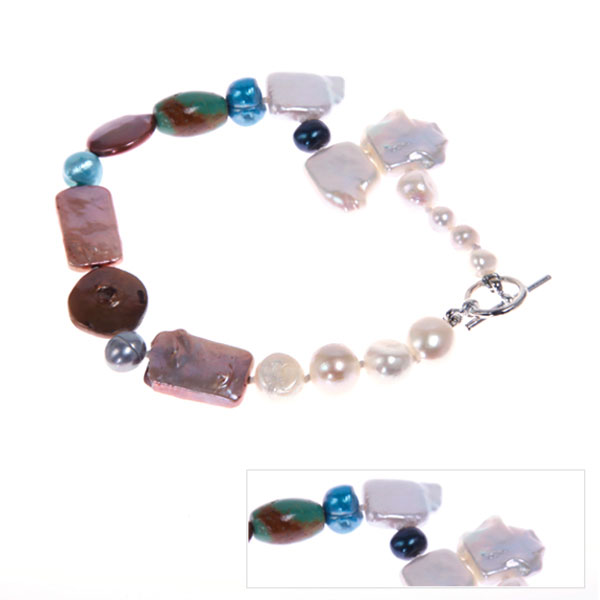 IPEARL Rectangle, Round & Coin Freshwater Pearl  Bracelet with Turquoise (TRB-10722-57)
