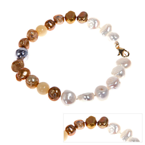 IPEARL Freshwater Baroque Pearl Bracelet with Yellow Jade (TRB-10722-62)