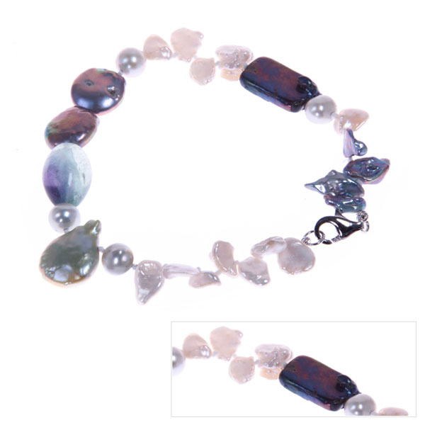 IPEARL Multicolor  Keishi, Coin & Round Freshwater Pearl Bracelet with Fluorite (TRB-10722-67)