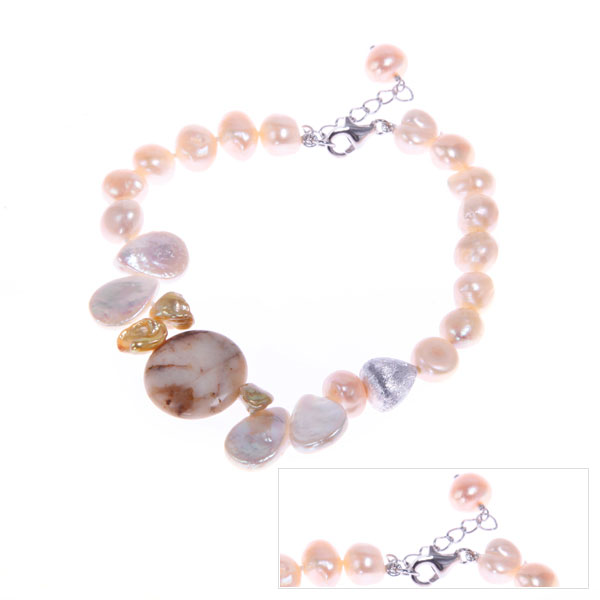 IPEARL Freshwater Pearl Bracelet with Coin, Keishi & Round Pearls & Agate (TRB-10724-17)