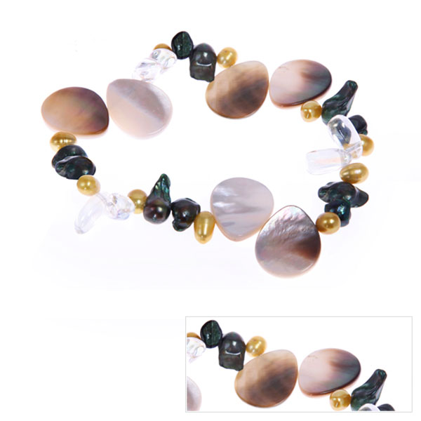 IPEARL Freshwater Coin Pearl Bracelet with Crystal (TRB-10726-26)