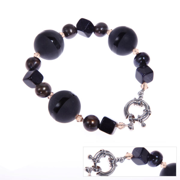 IPEARL Freshwater Pearl Bracelet with Blue Sandstone & Crystal (TRB-2085)