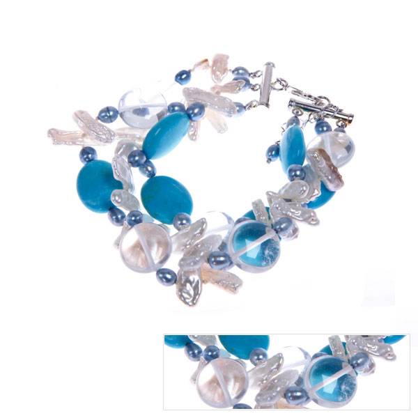 IPEARL Freshwater Pearl with Crystal  & Turquoise Bracelet (TRB-2362)