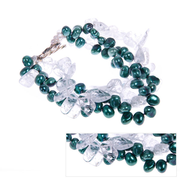 Freshwater Pearl Bracelet by IPEARL with 7-8mm Green Rice Pearls,  with Crystal , Silver Clasp (TRB-3044b)