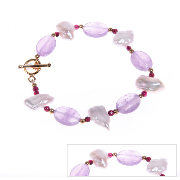 IPEARL Freshwater Pearl Bracelet with Amethyst and Garnet (TRB-3248)