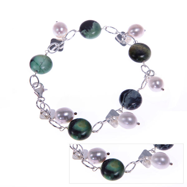 Freshwater Pearl Bracelet by IPEARL with 8-9mm Cream Rice Pearls,  with Turquoise (TRB-3322)