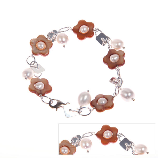 Freshwater Pearl Bracelet by IPEARL with 7-8mm White Rice Pearls,  with Shell , Silver Clasp (TRB-3330-P1)