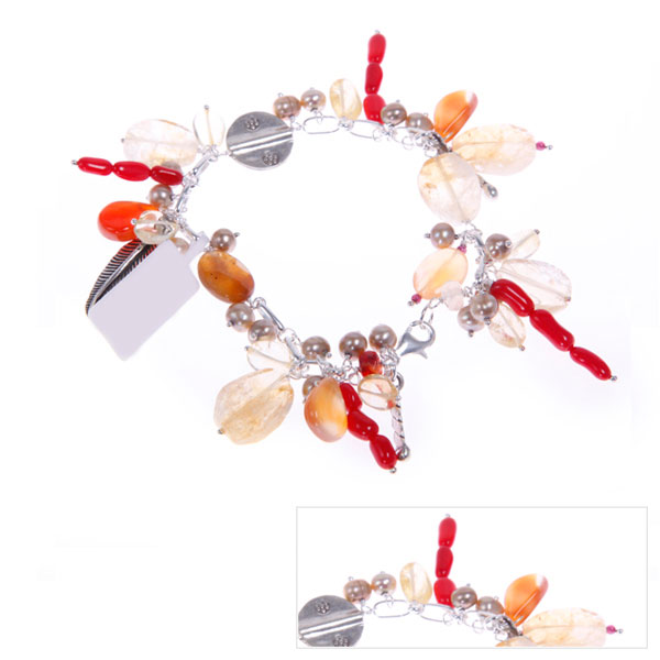 IPEARL Freshwater Pearl Bracelet with Citrine, Agate & Coral (TRB-3577)
