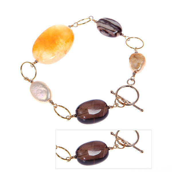 IPEARL Freshwater Pearl Bracelet  with Yellow Jade, Agate & Smoky Quartz (TRB-3590a)