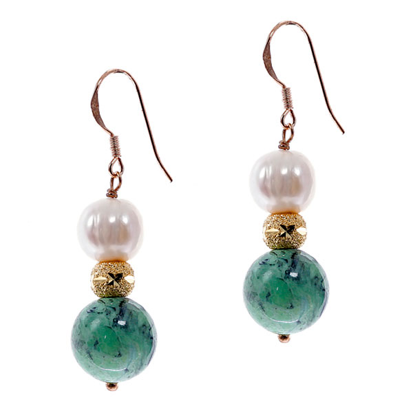 Sterling Silver Freshwater Pearl Earring by IPEARL with 8-9mm White Round Pearl, Turquoise (TRE-3569)