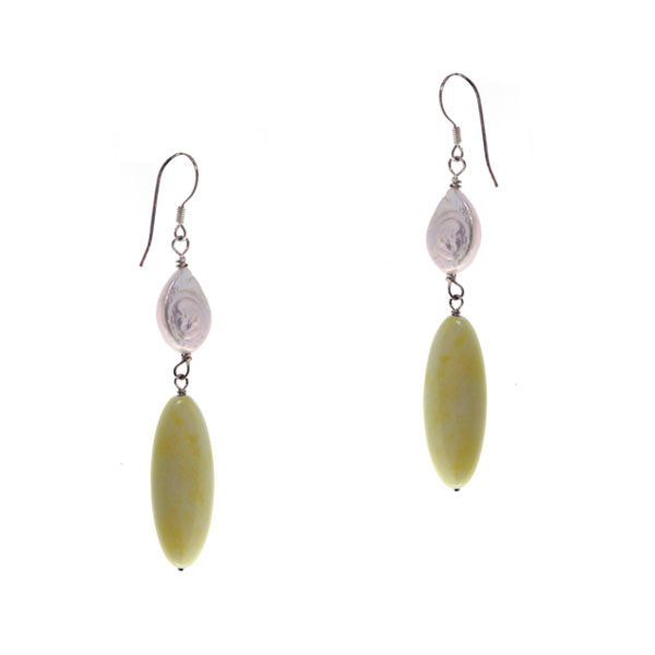 Sterling Silver Freshwater Pearl Earring by IPEARL with 9-10 White Coin Pearl, Lemon Jade (TRE-3585)