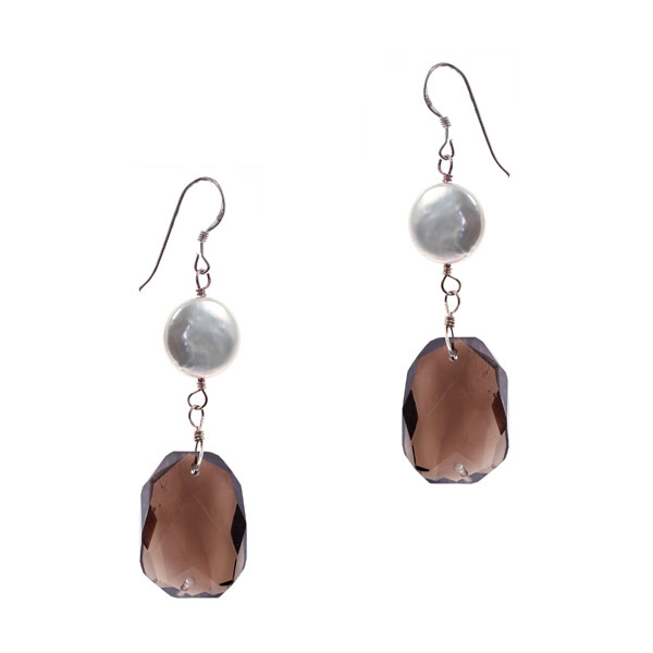 Freshwater Pearl Earrings by IPEARL with Coin Pearl & Smoky Quartz (TRE-3588)