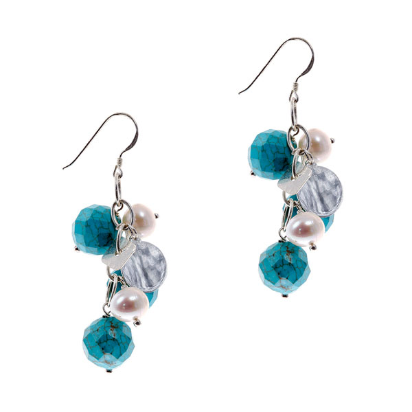 Sterling Silver Freshwater Pearl Earring by IPEARL with 9-10mm White Round Pearl, Turquoise (TRE-3598)