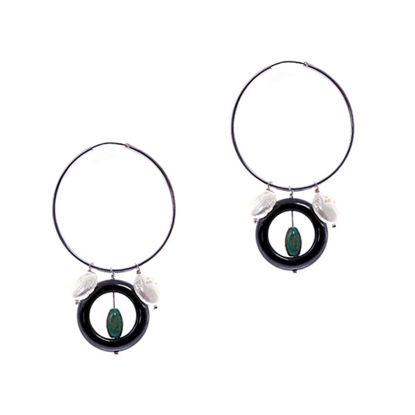 Sterling Silver Freshwater Pearl Earring by IPEARL with 10-11mm White Coin Pearl, Obsidian, Turquoise (TRE-3605)