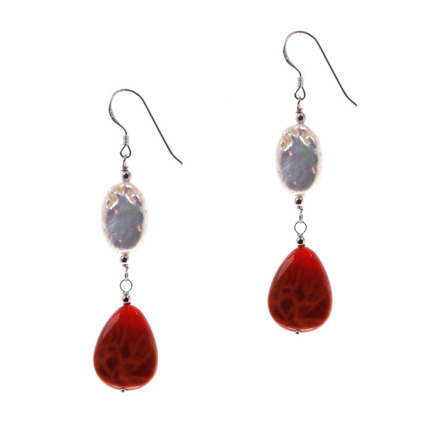 Sterling Silver Freshwater Pearl Earrings by IPEARL with Fire Crackle Agate (TRE-3616)