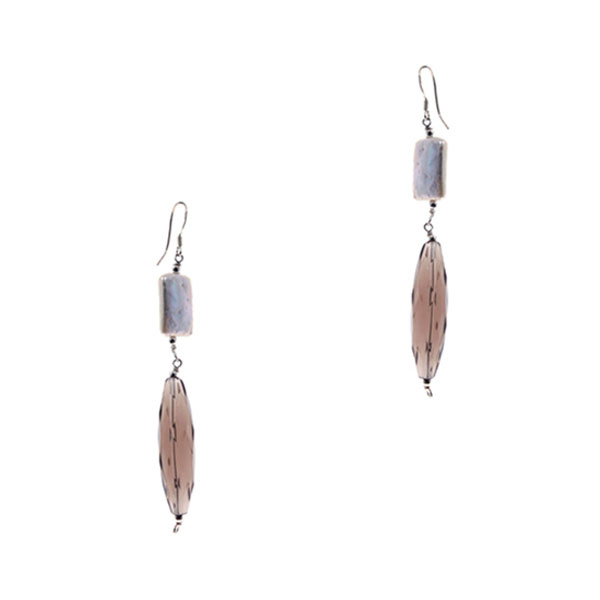 Freshwater Pearl Dangle Earring by IPEARL with Smoky Crystal (TRE-3629)