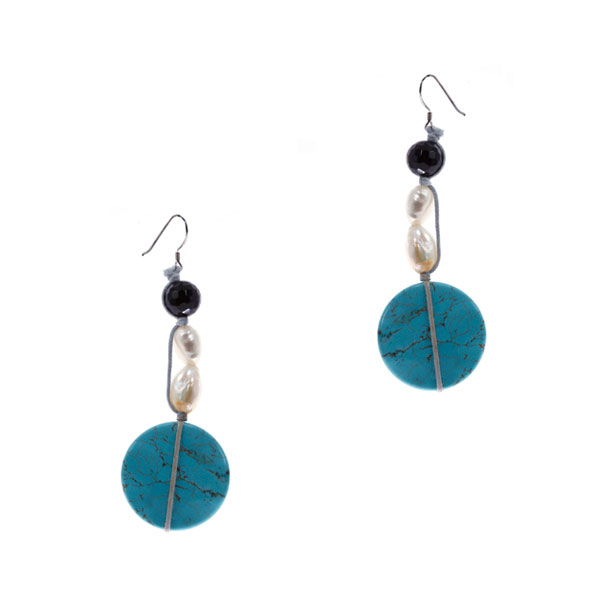 Sterling Silver Freshwatesr Pearl Earring by IPEARL with White Pearl, Turquoise, Agate (TRE-3642)