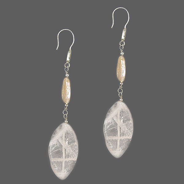 Freshwater Pearl Earrings by IPEARL Cream Rice Pearl and Crystal (TRE-3677)