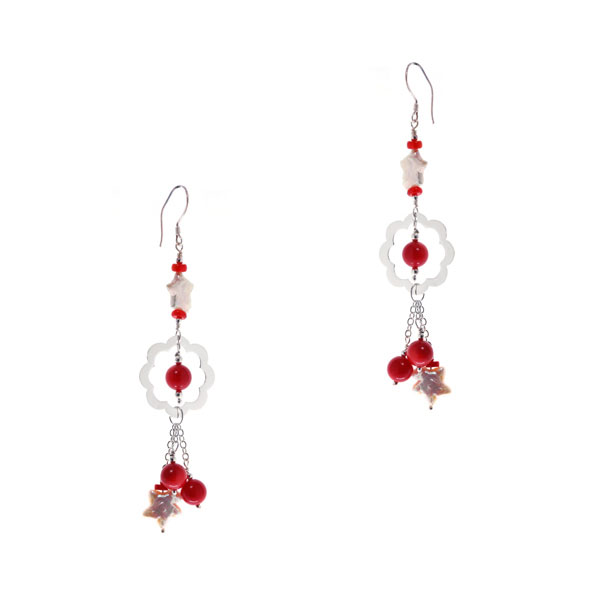 Freshwater Pearl Dangle Earrings by IPEARL with Star Pearls & Coral (TRE-3707)