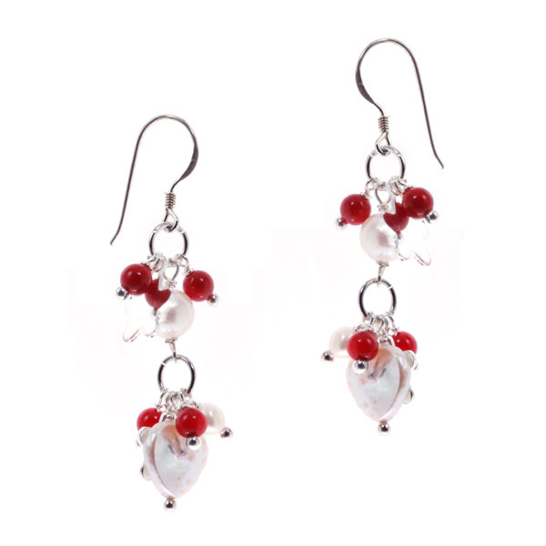 Freshwater Pearl Dangle Earrings by IPEARL with 7-8mm White Round Pearl, Red Coral (TRE-3710)