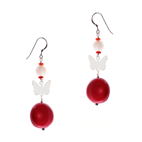 Sterling Silver Freshwater Pearl Earring by IPEARL with 7-8mm White Round Pearl, Red Coral (TRE-3712)