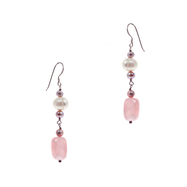 Sterling Silver Freshwater Pearl Earring by IPEARL with 7-8mm White Round Pearl, Rose Quartz (TRE-3730)