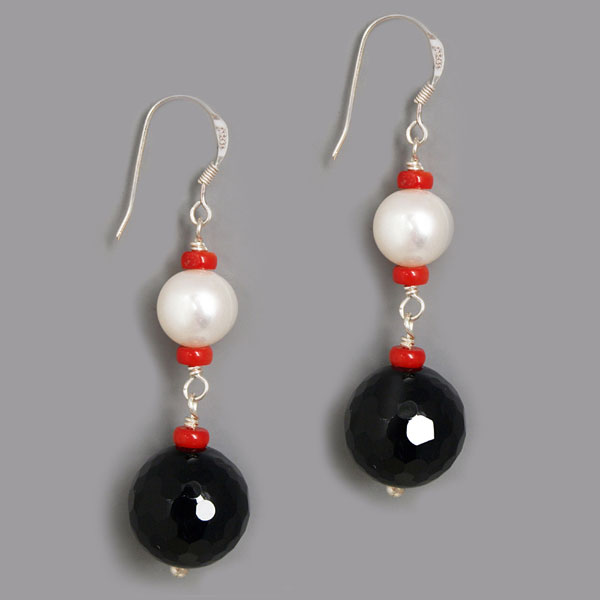 Freshwater Pearl Earrings by IPEARL with Round White Pearl, Red Coral & Black Agate (TRE-3739)
