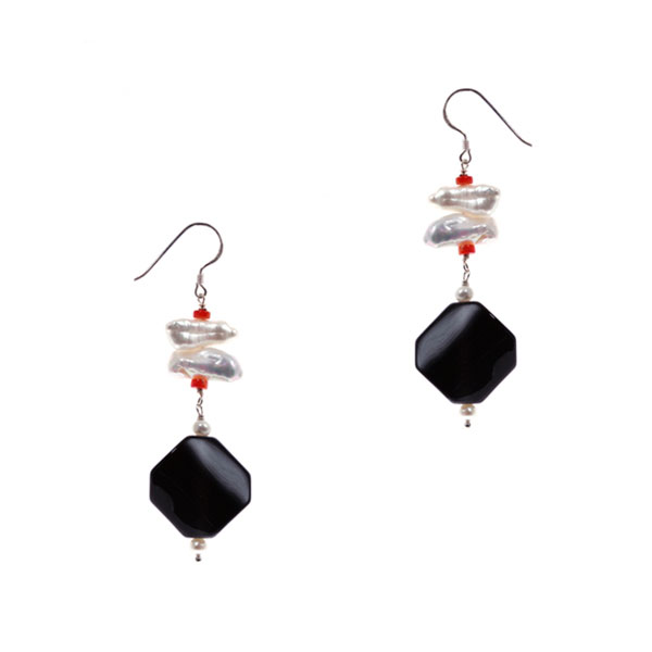 Freshwater Pearl Earrings by IPEARL with Coral & Black Agate (TRE-3769)