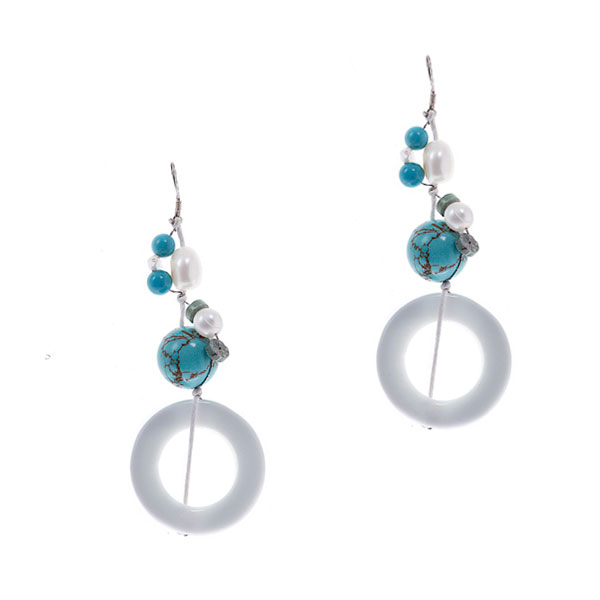 Freshwater Pearl Earrings by IPEARL with White Porcelain & Turquoise (TRE-3775)