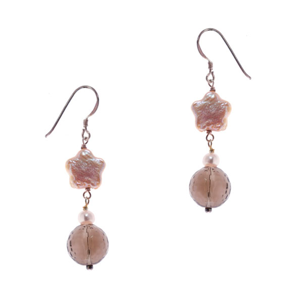 Freshwater Pearl Earrings by IPEARL with Star Pearls & Smoky Quartz (TRE-3781)