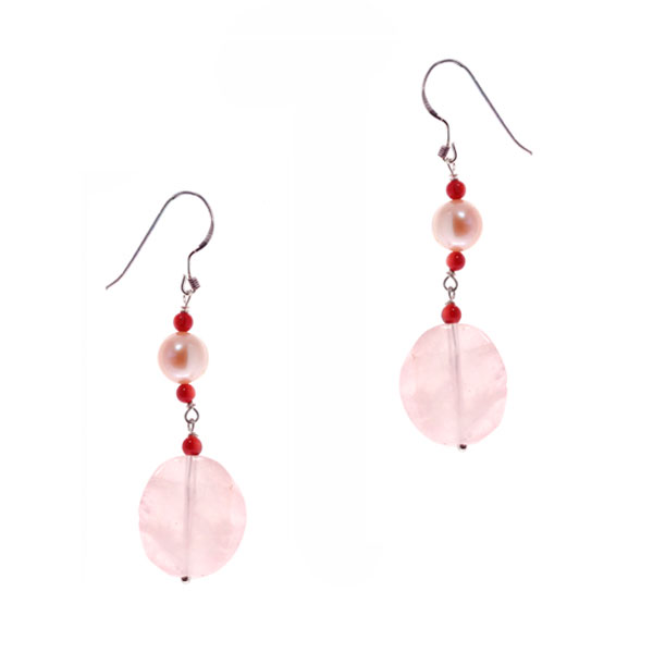 Freshwater Pearl Earrings by IPEARL Red Coral & Rose Quartz (TRE-3787)