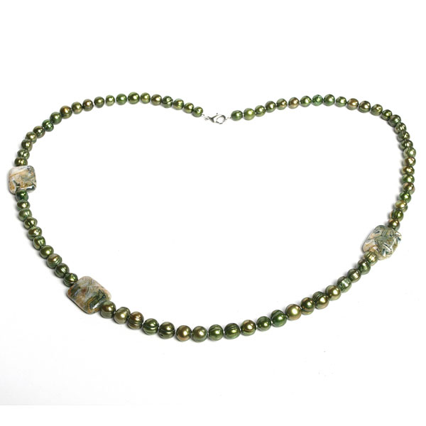 IPEARL 30 Inch Freshwater Pearl Necklace with Round Green Pearl & Agate, Silver Clasp (TRN-10011)