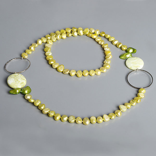 IPEARL 30 Inch Freshwater Pearl Necklace with Baroque Yellow Pearl & Lemon Jade (TRN-10016)