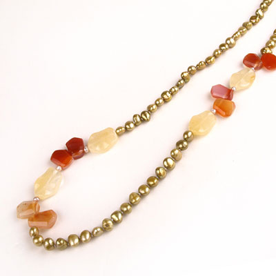 24 Inch Freshwater Pearl Necklace by IPEARL with 7-8mm Yellow Baroque Pearls with Agate & Jade; Copper Clasp (TRN-10026)