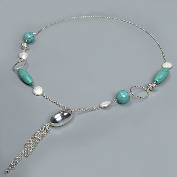 IPEARL  24 Inch Pendant Style Freshwater Pearl Necklace with Coin White Pearl and Turquoise (TRN-10052)