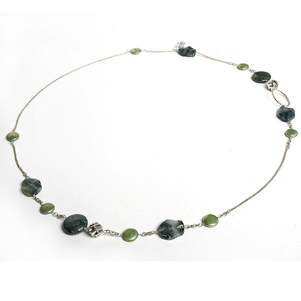 IPEARL  36 Inch Freshwater Pearl Necklace with Coin Green Pearl, Agate and Rhyolite (TRN-10056)