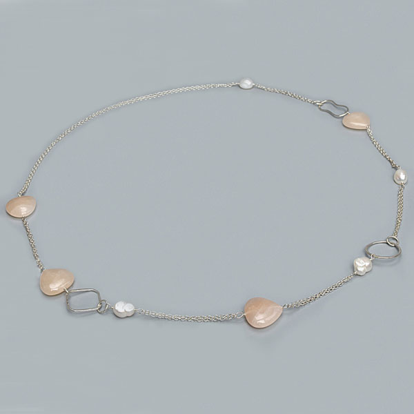 IPEARL 30 Inch  Freshwater Pearl Necklace with Rice White Pearl and Aventurine (TRN-10065)