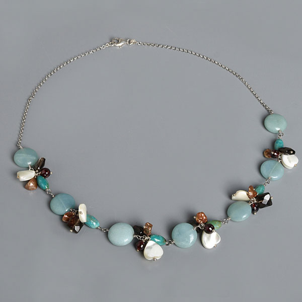 Freshwater Pearl Necklace by IPEARL with Brown Keshi Pearls, Amazonite, Turquoise, Crystal, Garnet&Shell, Silver Clasp (TRN-10176)