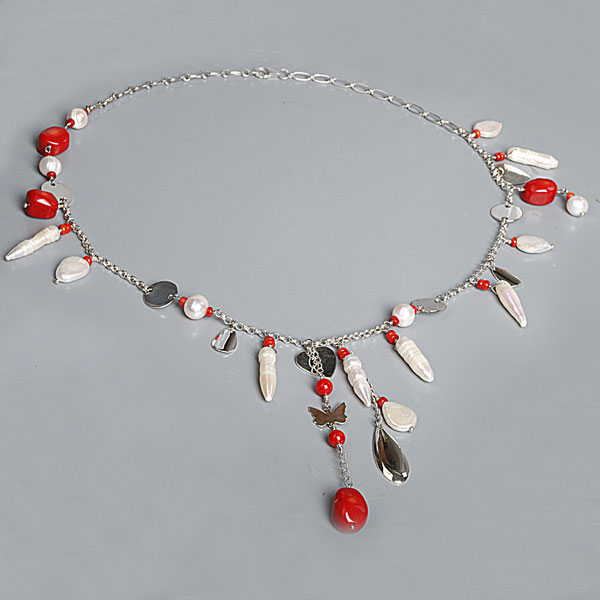 24 Inch Freshwater Pearl Necklace by IPEARL with 6mm White Baroque Pearls and Red Coral; Silver Clasp (TRN-10187)