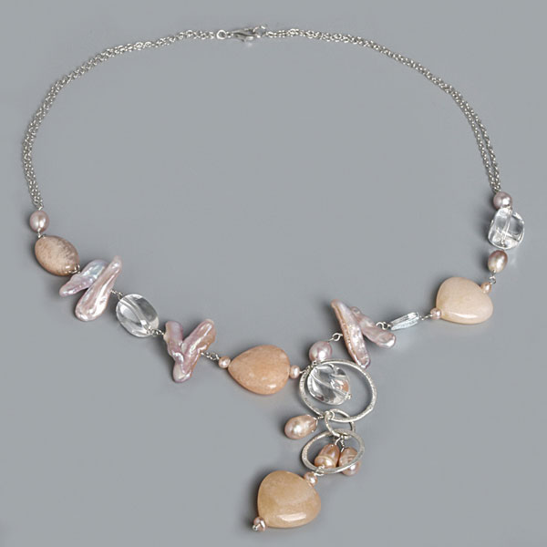 IPEARL 20 Inch Freshwater Purple Keishi Pearl Necklace with Sunstone, Aventurine, Crystal, Silver Clasp (TRN-10284)