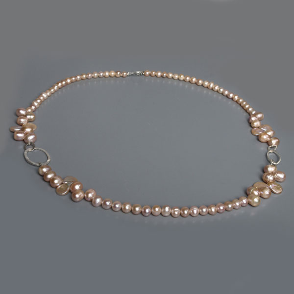 IPEARL 30 Inch Freshwater Pearl Necklace with 7-9mm Round, Baroque & Teardrop Pink Pearls (TRN-10313)