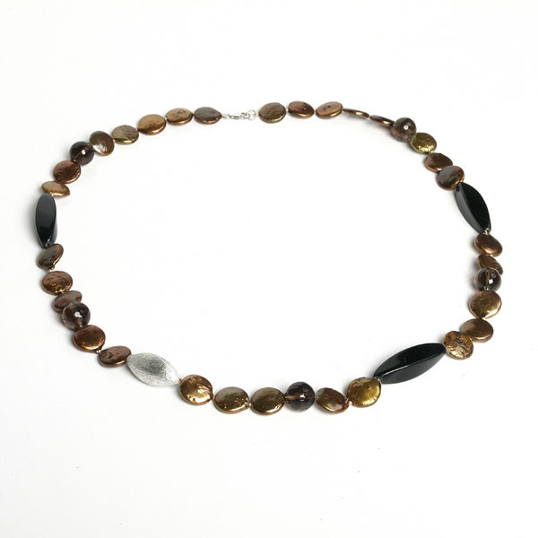 IPEARL 24 Inch Freshwater Pearl Necklace with 11-12mm Yellow Coin Pearls,  Agate and Smoky Quartz, Silver Clasp (TRN-10362)