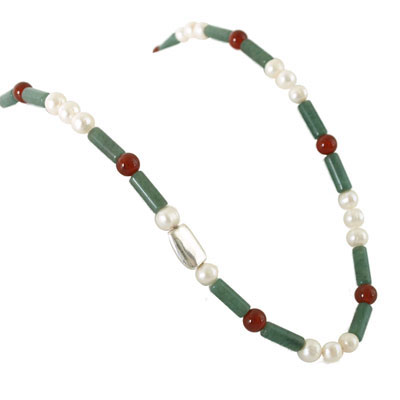 IPEARL 30 Inch Freshwater Pearl Necklace with White Round Pearls, Agate and Aventurine, Silver Clasp (TRN-10365)