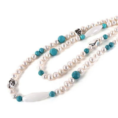 IPEARL 48 Inch Freshwater Pearl Necklace with Round White Pearl, Turquoise & White Porcelain (TRN-10375)