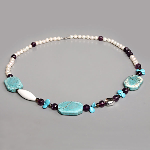 IPEARL 30 Inch Freshwater Pearl Necklace with 8-9mm White Round Pearls, Turquoise & Amethyst, Silver Clasp (TRN-10379)