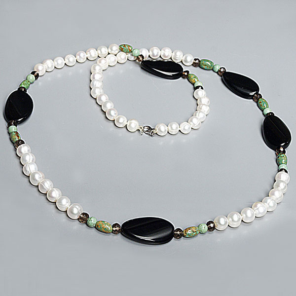IPEARL 30 Inch Freshwater Pearl Necklace with 8-9mm White Round Pearls, Agate and Turquoise, Silver Clasp (TRN-10380)