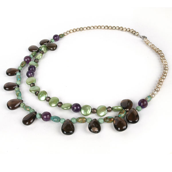 20 Inch Freshwater Pearl Necklace by IPEARL with Round Brown Pearl and Turquoise & Crystal; Silver Clasp (TRN-10381)