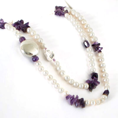 IPEARL 48 Inch Freshwater Pearl Necklace with Round White Pearl and Amethyst (TRN-10382)