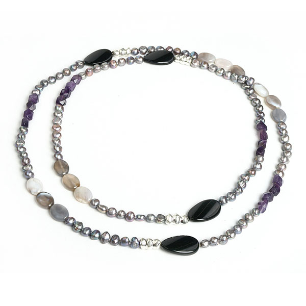 IPEARL 54 Inch Freshwater Necklace with Purple Pearls,  Amethyst and Agate (TRN-10383)